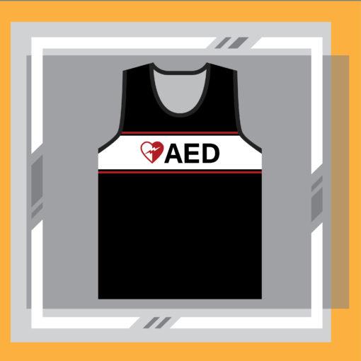 ภาพด้านหน้าเสื้อ AED กระตุกหัวใจ แขนกุด ด้านหน้า