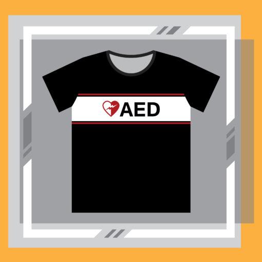 ภาพด้านหน้าเสื้อ AED กระตุกหัวใจแบบแขนสั้น